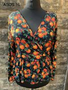 Asos Tangerine Fruity Wrap Top - Size 16 - Free Postage Done