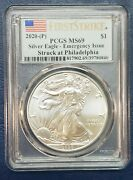 2020 P 1 Silver Eagle Pcgs Ms 69 Fs Emergency Issue White Spots Coin Sku C141