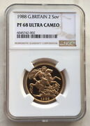 Great Britain 1988 St.george 2 Sovereign Ngc Pf68 Gold Coin,proof
