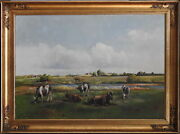 Niels Christiansen 1873-1960 Large Original Oil Painting Cattle And Horses