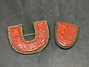 2 Antique Victorian Chinese Export Cinnabar And Sliver Jewelry Brooches Or Pins