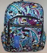 Vera Bradley Disney Mickey And Minnie Paisley Iconic Campus Laptop Backpack