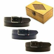 Belt Leather Men Armata Di Mare 43 5/16-49 3/16in With Box Set Of Wood Gift