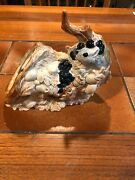Vintage Ceramic Shell Shaped Pot With Squirrel And Acorn Tree, 7 Tall, 9 Long