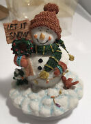 Holiday Time Resin Snowman Let It Snow Decorative Jar Candle/candy Jar Lid/cover