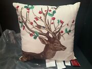 20 Pottery Barn In Outdoor Winter Berry Doe Reindeer Pillow Christmas Gift New