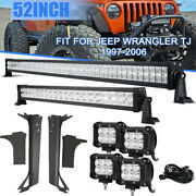 For Jeep Wrangler Tj 97-06 52inch Led Light Bar And 4x4 18w Pods Andmount Brackets
