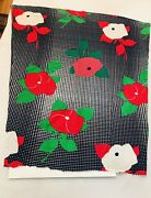 Vintage Fabric Print Knit Salvaged 1960s 1970s Large Floral Red White Blue Green