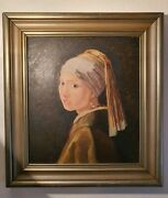 Oil Painting Portrait Girl With A Pearl Earring Artist Interpretation