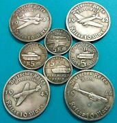 German Aircrafts And Tanks Of The Ww 2 /// Set Of Souvenir Silvered Coins 8 Pcs