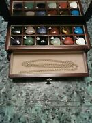 12 Gem Stone Pendants/wooden Box With 2 Chains - Great Gift Xmas Holiday Idea