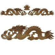 3pcs Floral Woodcarving Decal Style Rubber Wood Carved Corner Applique Figurines