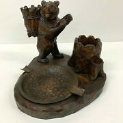 Antique Carved Bear Black Forest Pipe Smoking Companion Desk Set Stand Ash Tray