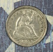 1853 Seated Silver Half Dime Collector Coin Free Shipping