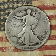 1917-s Obverse Walking Liberty Silver Half Dollar Collector Coin. Free Shipping
