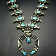 Stately Vintage Navajo Sterling Silver Turquoise Squash Blossom Necklace 236g