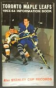 1963-64 Toronto Maple Leafs Media Guide + Stanley Cup Records Vintage Nhl Hockey