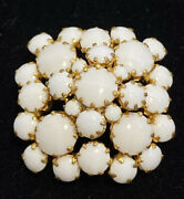 Vintage Rare Austria Signed Milk Glass Cluster Collectible Brooch Pin Jewelry