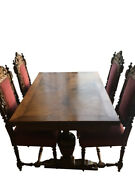 Antique Dining Room Set Table Made Of Solid Wood With 4 Chairs