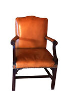 Antique Brown Leather Armchair Gainsborough-style