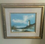 Cape Cod Inspired Canadian Artist W.quilham Painting 1970 Light House Ocean...