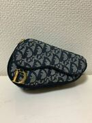 Auth Christian Dior Saddle Bag Trotter Pouch D Metal Fittings Canvas Navy Ladies