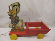 1930s Fisher Price 463-550 Walt Disney Donald Duck Wooden Pull Toy