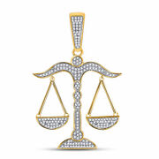 10kt Yellow Gold Mens Round Diamond Scales Of Justice Charm Pendant 1/2 Cttw