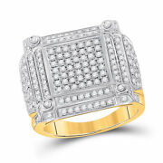 14kt Yellow Gold Mens Round Diamond Square Cluster Ring 1-3/8 Cttw