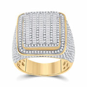 14kt Yellow Gold Mens Baguette Diamond Square Ring 2-1/2 Cttw