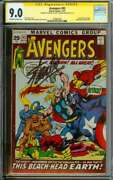 Avengers 93 Cgc 9.0 Ow/wh Pages // Signed By Stan Lee + Neal Adams