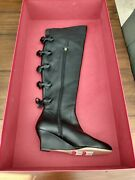 Valentino Leather Black Bow Knee High Boots Eu37 Us6.5 Ships Today Bnib