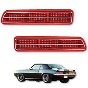 69 Chevy Camaro Red Led Right And Left Rear Tail Brake Light Lamp Lens And Trim Pair