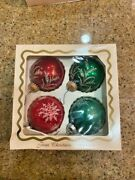 Vintage Christmas By Krebs 4 Glass Ball Ornaments In Original Box Hand Decorated
