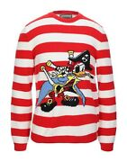 Nwt Hand Knitted Red And White Striped Donald Duck Pirate Sweater M