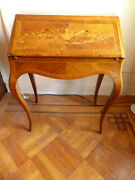 Antique Figured Walnut French Ladies Writing Desk, Marquetry