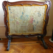 Antique 19th Century French Carved Walnut Fire Screen W/ Tapestry.