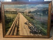 Very Large Vintage Hand Colored Early 20th C. Photo Rairoad Workers In Landscape