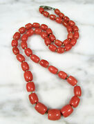 Antique Graduated Salmon Coral Barrel Bead Necklace 14k White Gold Clasp 38.2g