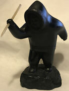 Boma Vintage Eskimo Inuit Canada Sculpture With Spear