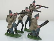 Lot Of 4 Kober Vintage Diecast Flat Lead Toy Soldiers Approx 1-1/2 To 2-7/16