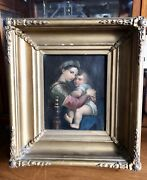 19th Century Continental Madonna And Child Oil On Canvas, Religious