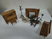 Vintage Doll House Miniature Furniture Wooden. Lot.104 Livingroom Piano Music