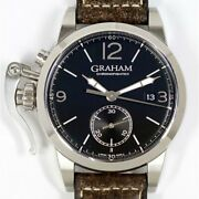 Graham Chrono Fighter 1695 2cxas Automatic Black Dial Stainless Leather Menand039s