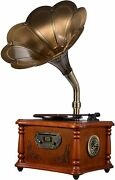 Wooden Gramophone Phonograph Stereo Speakers Turntable Vinyl Record Player