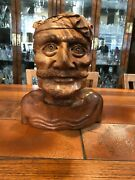 Vintage Mas Bali Balinese Wood Hand Carving Old Mens Bust, 10 1/2 Tall, 9 Wide