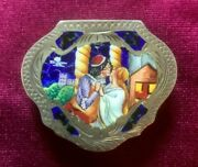 Antique Italian 800 Silver And Enamel Pill Box - Romeo And Juliet
