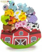 Wooden Farmhouse Animals Toy Balancing Abilities Colored Natural Materials 13pcs