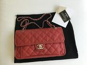 Authentic French Riviera Red Medium Caviar Quilted Flap Bag
