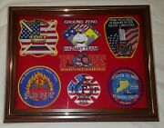 New York City Fire Dept God Bless America Patch Plaque 9-11-01 Display Case